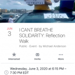 """Facebook invitation to """"I can't breathe solidarity reflection walk"""""""
