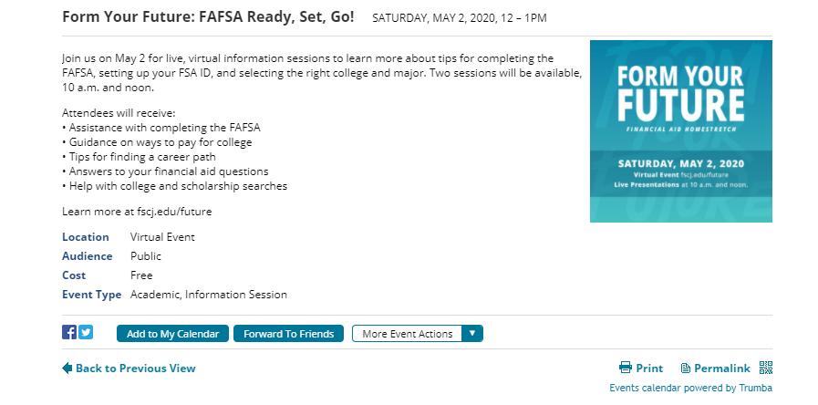 FAFSA event invitation