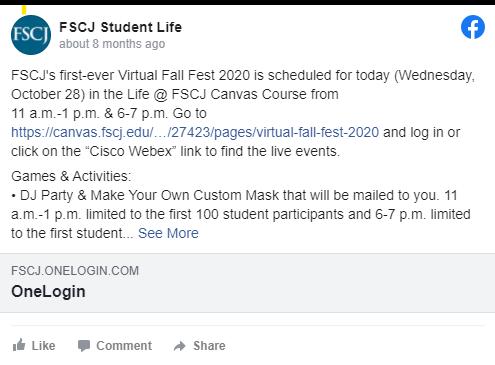 FSCJ Student Life Facebook post